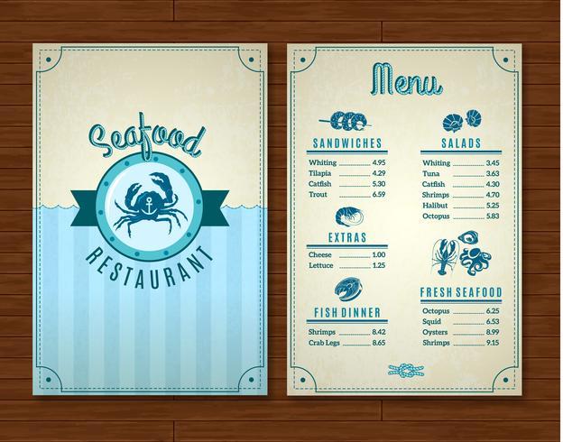 Modello di menu di pesce vettore