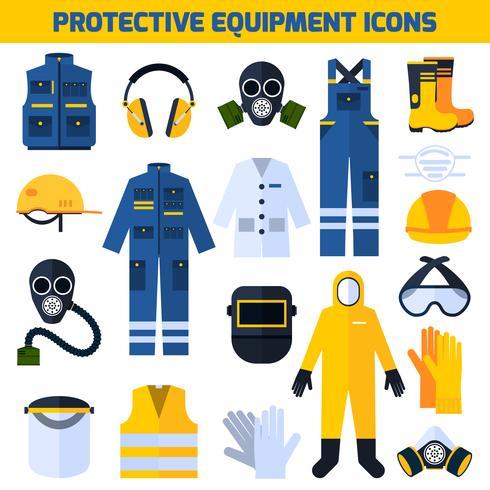 Icone piane dell'attrezzatura delle uniformi protettive messe vettore