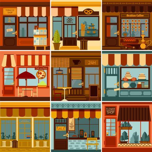 Set di facciate ristorante e negozio vettore