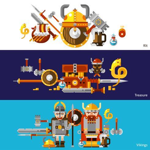 Set di bandiere di Viking vettore