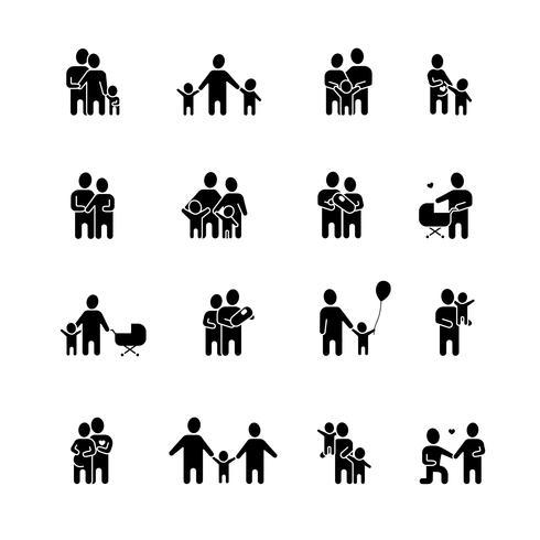 Set di icone bianche nere di famiglia vettore