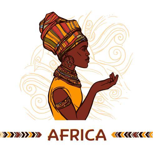 Ritratto di donna africana vettore
