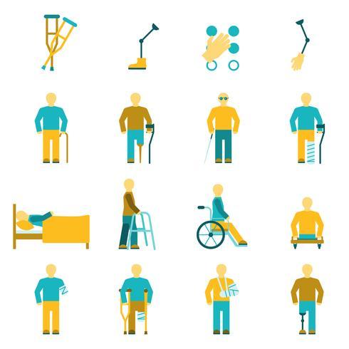 Set di icone di persone con disabilità vettore