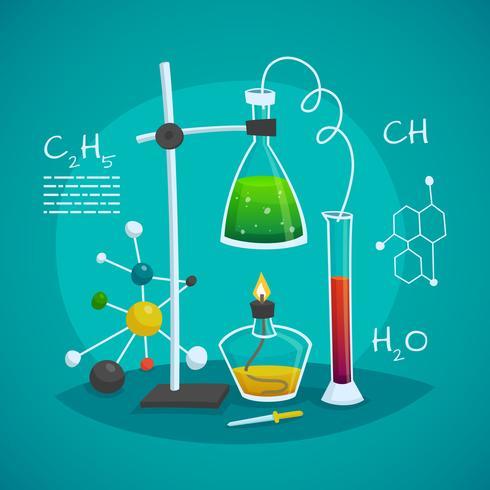 Concetto di progetto dell'area di lavoro chimica del laboratorio vettore