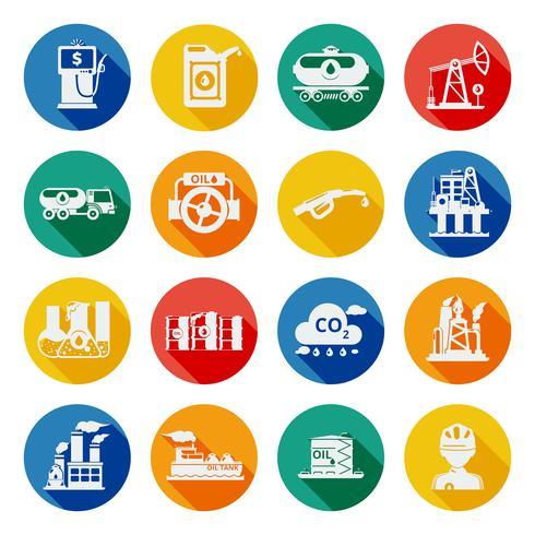 Icone dell'industria petrolifera piatte vettore