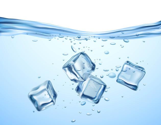 Cubetti di ghiaccio in acqua vettore