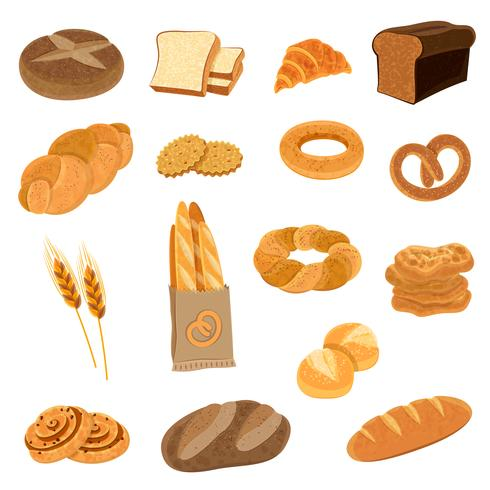 Set di icone piane di pane fresco vettore