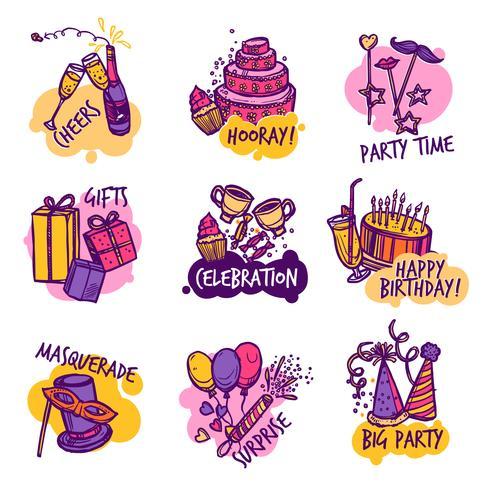 Insieme di etichette degli emblemi variopinti della festa di compleanno vettore