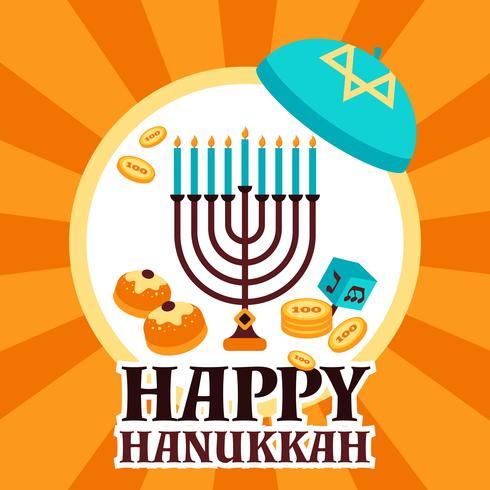 biglietto di auguri di hanukkah vettore