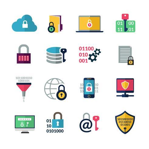 Icone di crittografia dei dati vettore