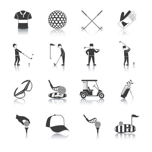 Set di icone di golf bianco nero vettore