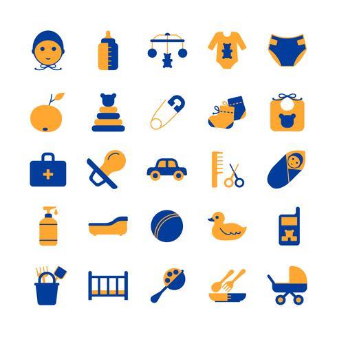 Set di icone di cura del bambino vettore