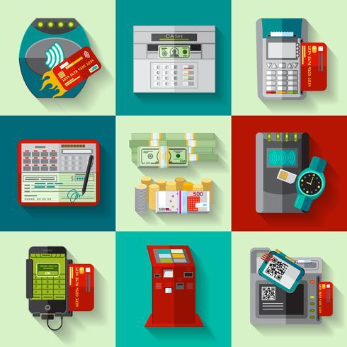 Set di icone piane di metodi di pagamento vettore