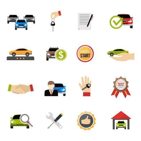 Set di icone di concessionaria auto vettore