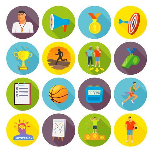 icone di sport di allenamento piatte vettore