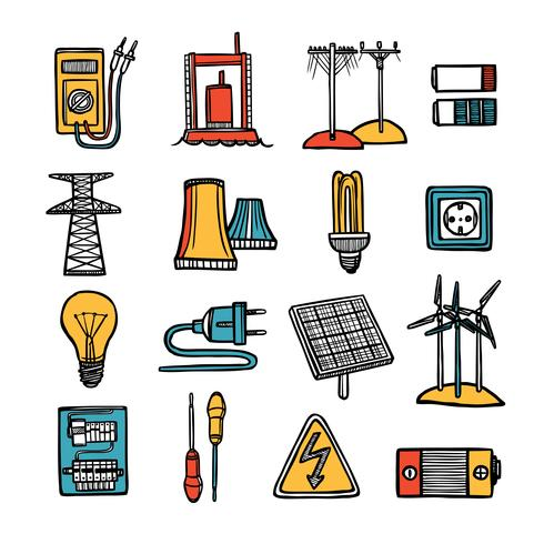 Set di icone di potenza ed energia vettore