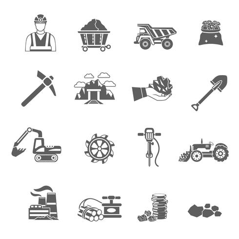 Set di icone di data mining vettore