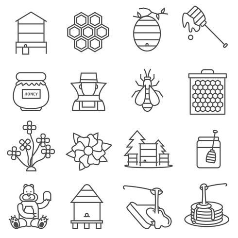 Set di icone di linea di miele vettore