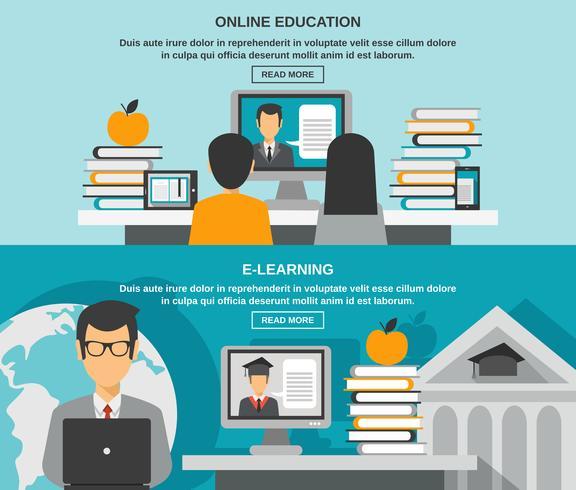 Set di banner di e-learning vettore