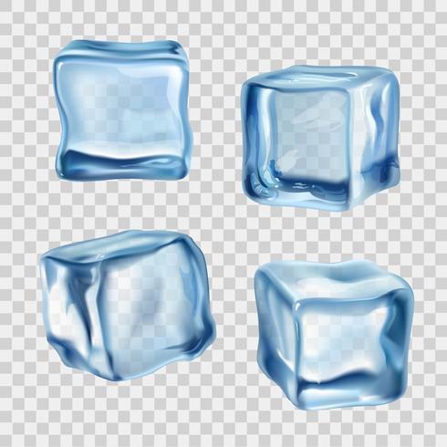 Cubetti di ghiaccio blu trasparente vettore