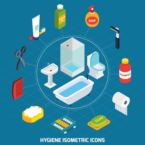 Set di icone isometriche di igiene vettore