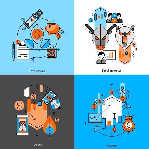 Set di icone di linea di investimento e denaro vettore