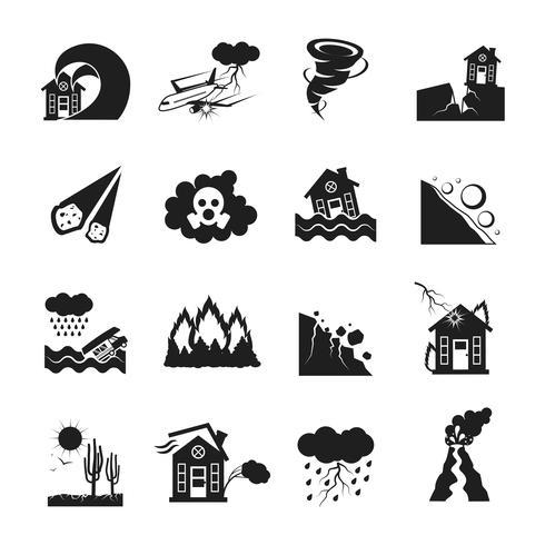 Set di icone monocromatiche di disastri naturali vettore