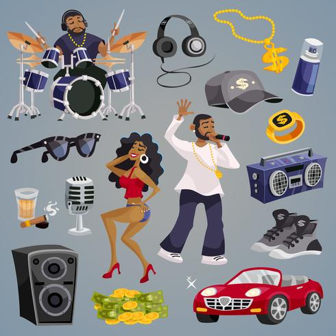 elementi musicali rap vettore
