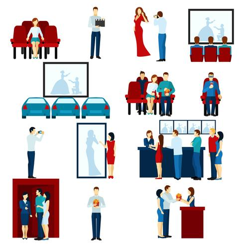 Set di icone piane cinema cinema vettore