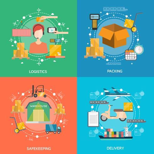 Set di icone di concetto di logistica vettore