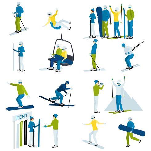 Set di icone di sci resort persone vettore