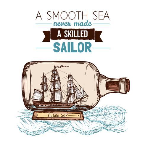 Barca a vela nel concetto di colore della bottiglia vettore