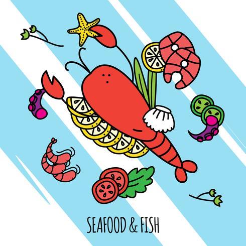 Illustrazione di concetto di frutti di mare vettore