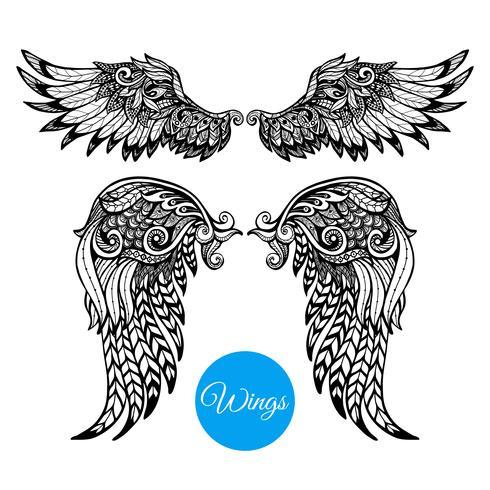 Set di ali decorative vettore