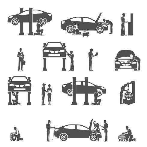 Set di icone di auto meccanico nero vettore