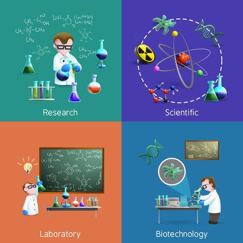 Scienziati in set di icone di laboratorio vettore