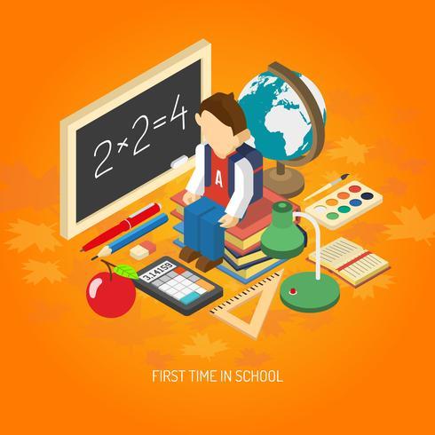 Poster di concetto isometrico di scuola vettore