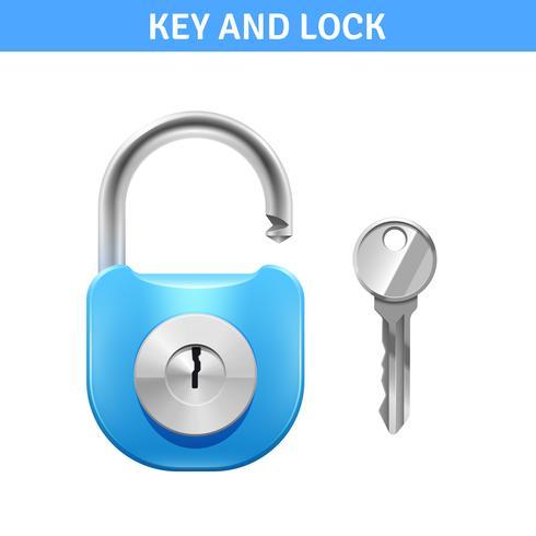 Illustrazione di serratura e chiave vettore