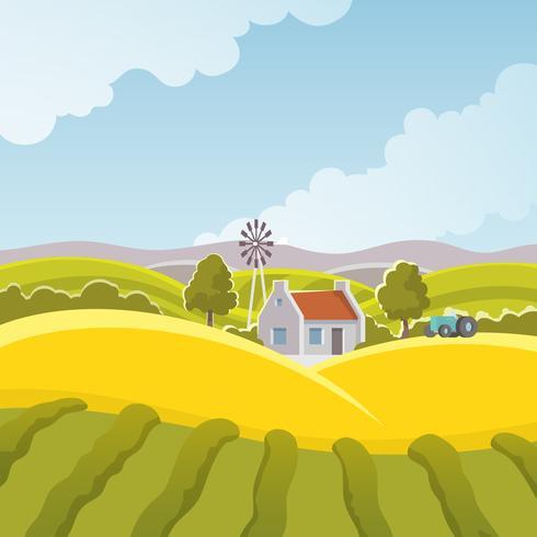 Illustrazione del paesaggio rurale vettore