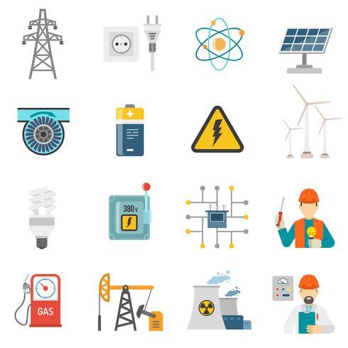 Set di icone piane di energia di potenza vettore