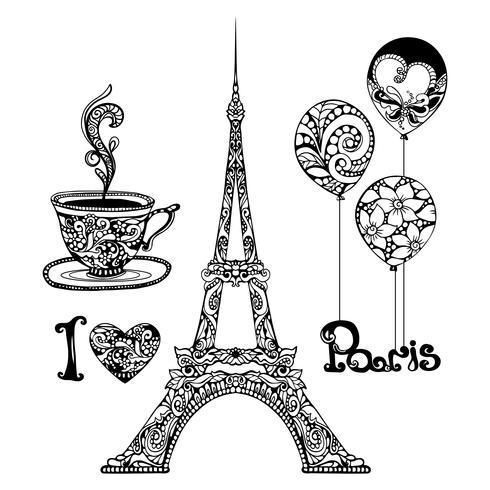 Torre Eiffel decorativa vettore