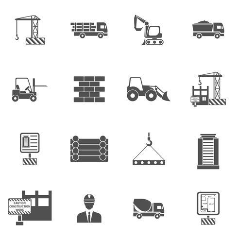 Icone di costruzione piatte vettore