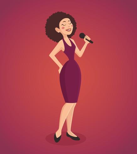 Illustrazione della donna del cantante vettore