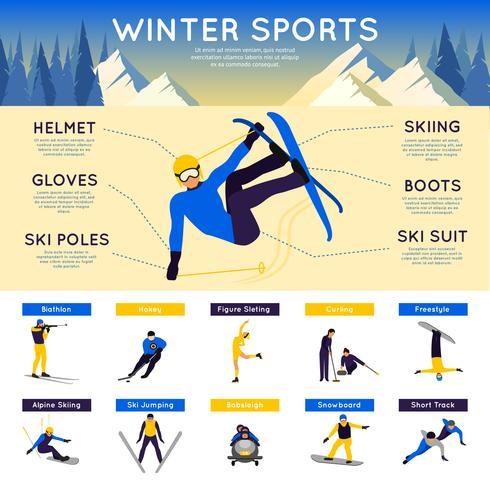 Infographics di sport invernali vettore