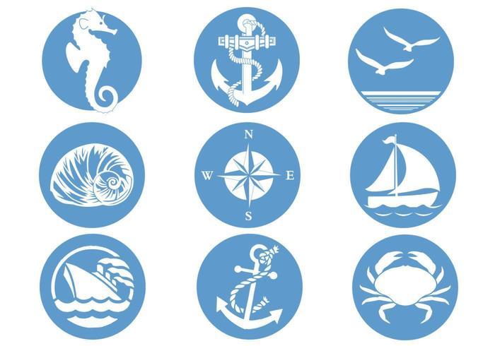 Pacchetto di simboli nautici vettore