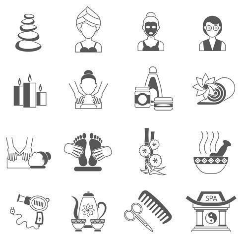 Set di icone Spa nero vettore