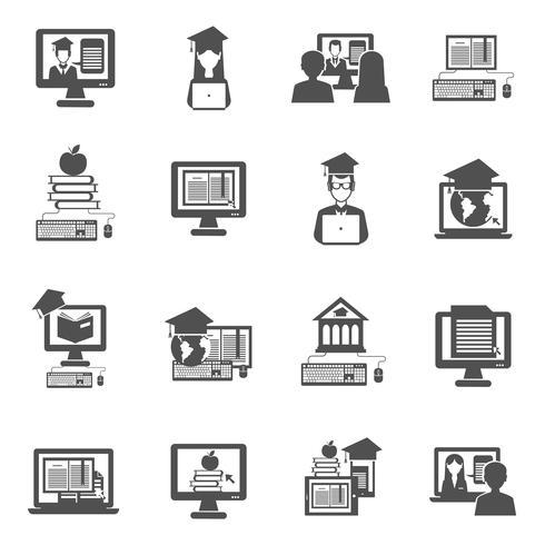 Set di icone di e-learning vettore