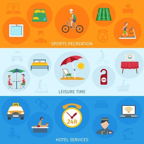 Set di banner di servizi alberghieri vettore