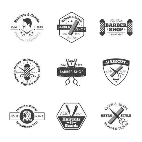 Insieme di logo di hairdress vettore