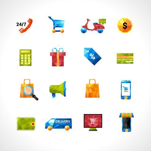 Icone poligonali di e-commerce vettore